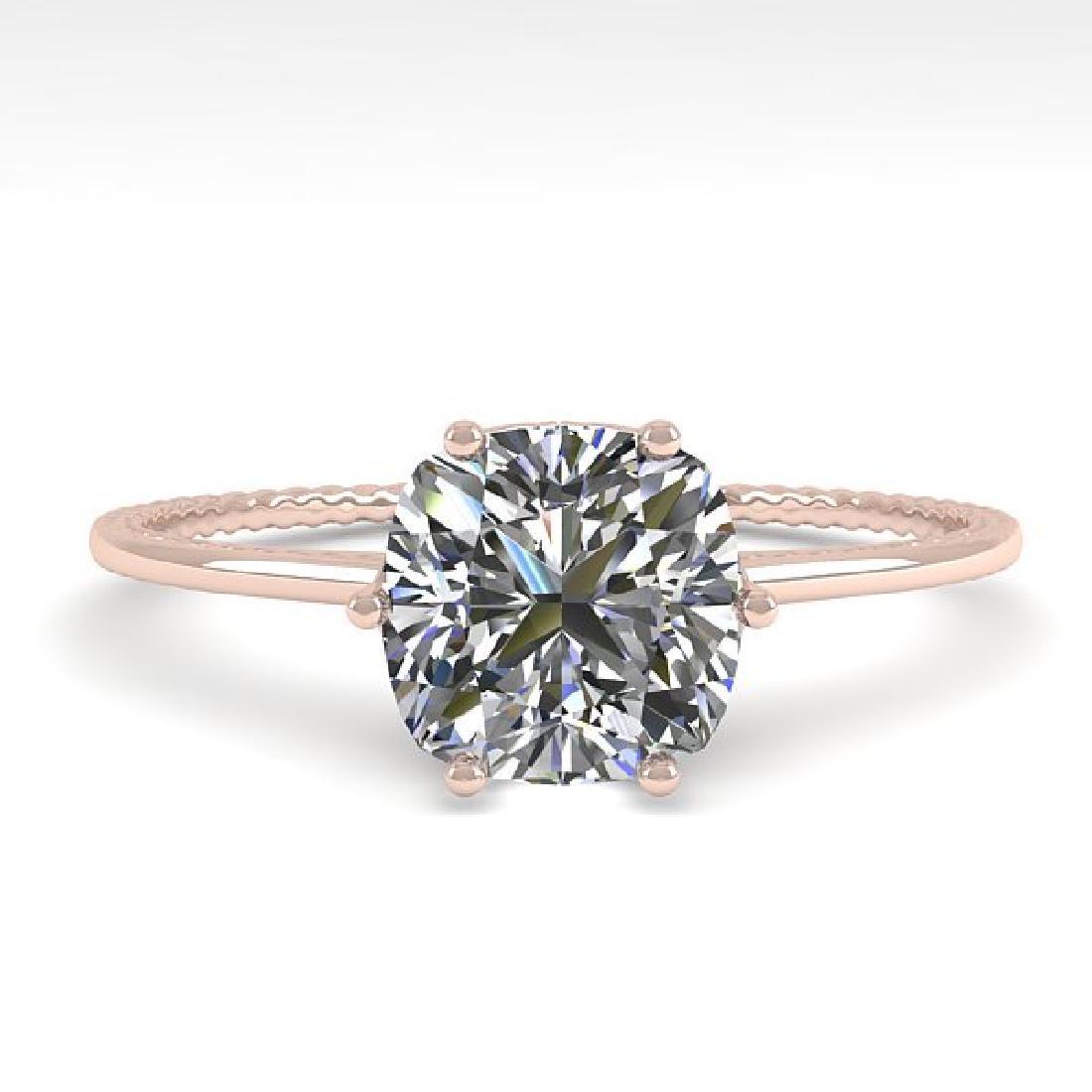1.0 CTW VS/SI Cushion Diamond Art Deco Ring 14K Rose