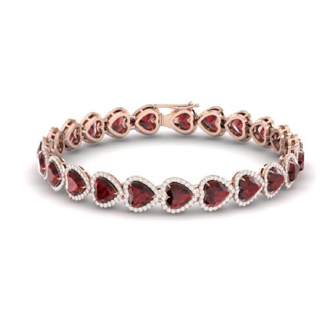 25 CTW Garnet & Micro Pave VS/SI Diamond Bracelet Heart - 2