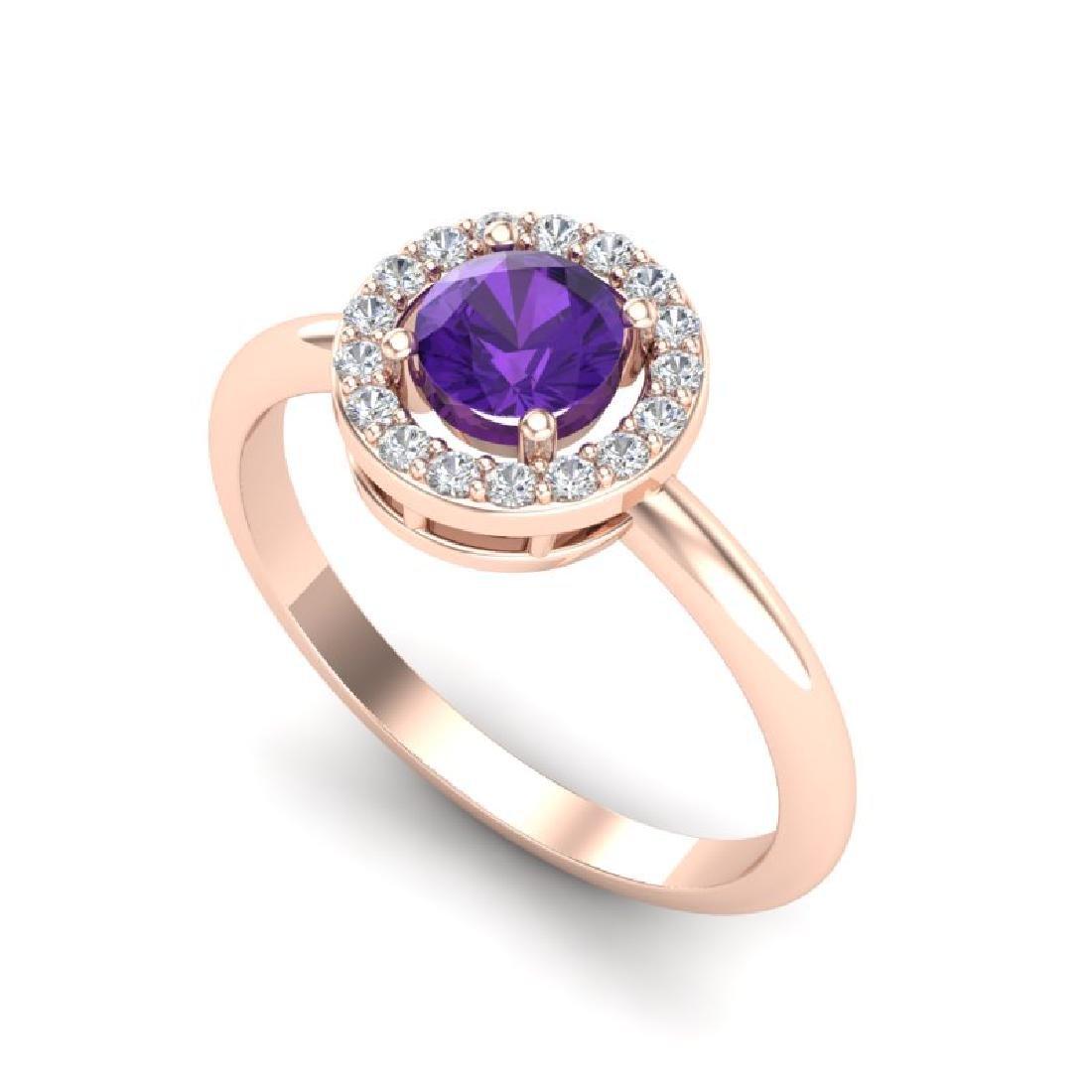 0.75 CTW Amethyst & Micro Halo VS/SI Diamond Ring 14K - 2