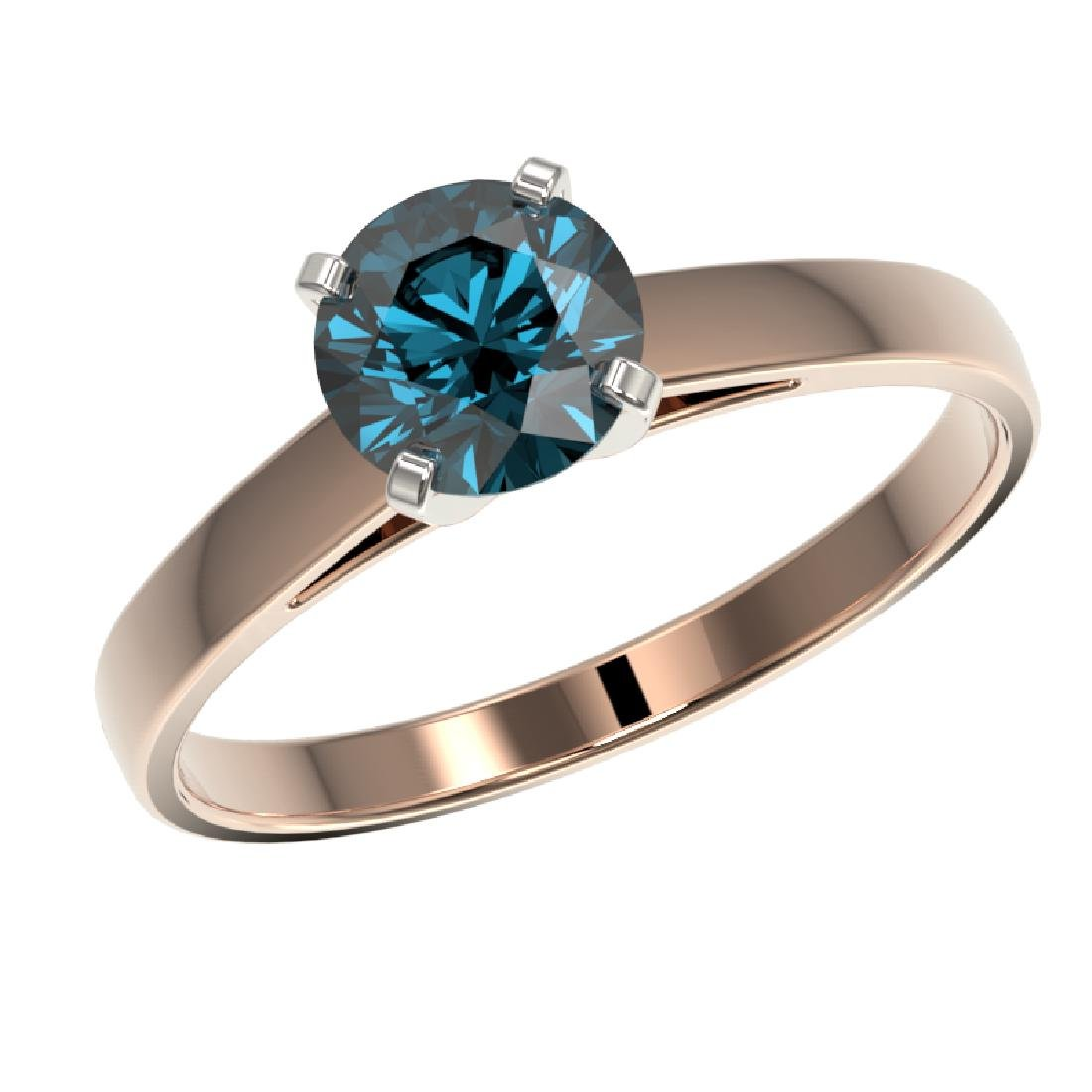 1.03 CTW Certified Intense Blue SI Diamond Solitaire - 2