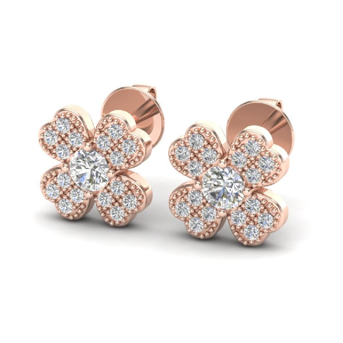 0.54 CTW Micro Pave VS/SI Diamond Earrings 14K Rose
