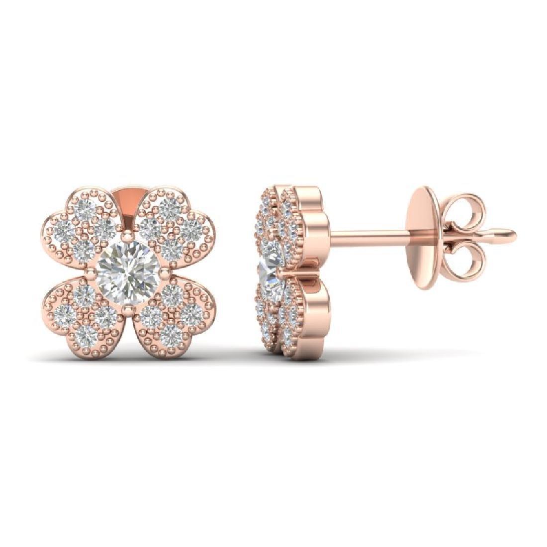 0.54 CTW Micro Pave VS/SI Diamond Earrings 14K Rose - 2
