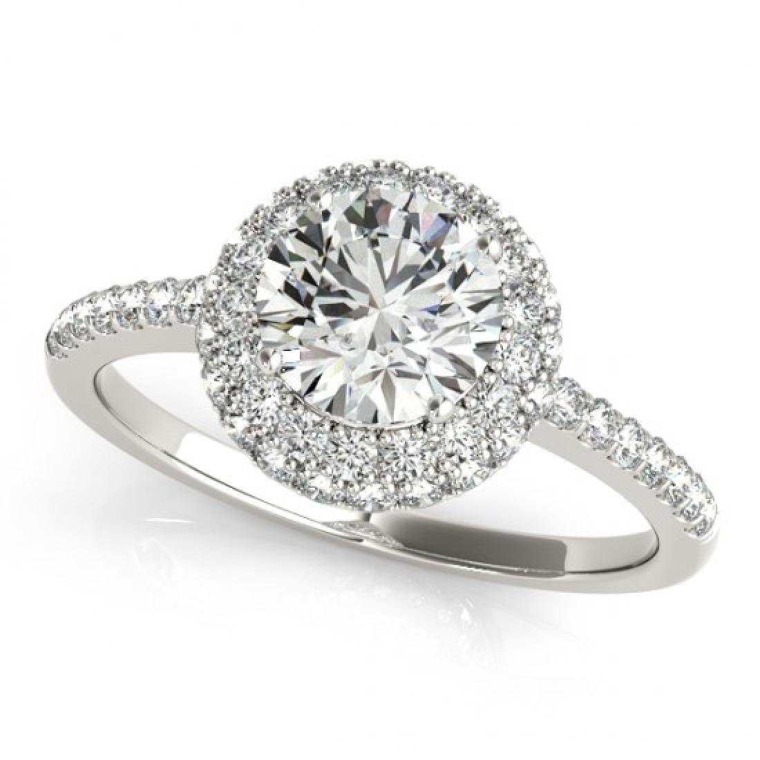 1.1 CTW Certified VS/SI Diamond Solitaire Halo Ring 14K