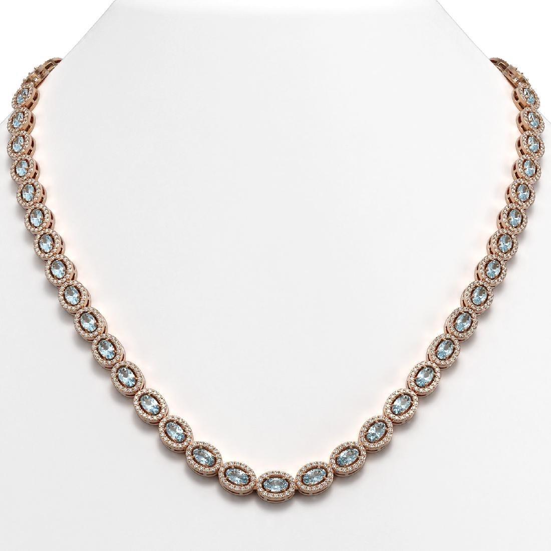 20.71 CTW Aquamarine & Diamond Halo Necklace 10K Rose