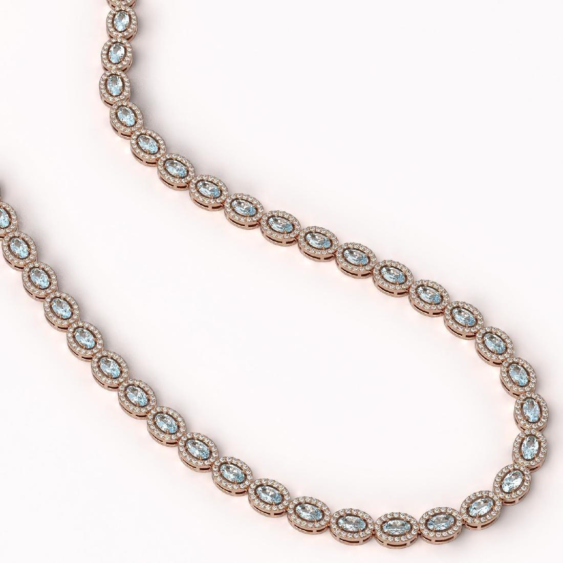 20.71 CTW Aquamarine & Diamond Halo Necklace 10K Rose - 2