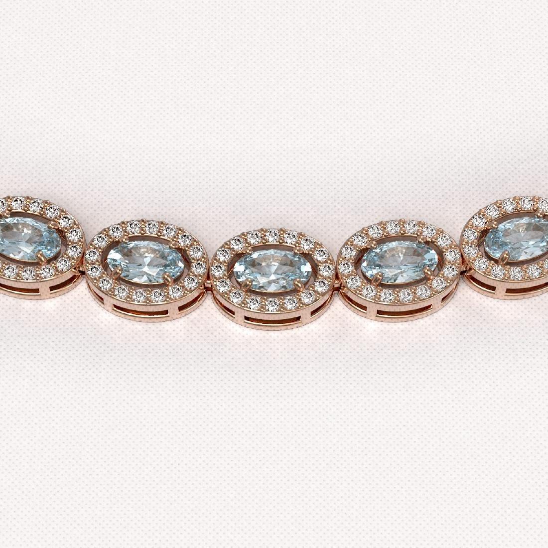 20.71 CTW Aquamarine & Diamond Halo Necklace 10K Rose - 3
