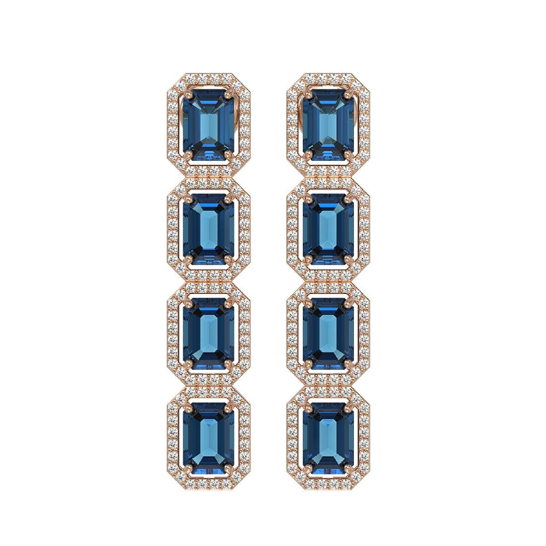 12.02 CTW London Topaz & Diamond Halo Earrings 10K Rose
