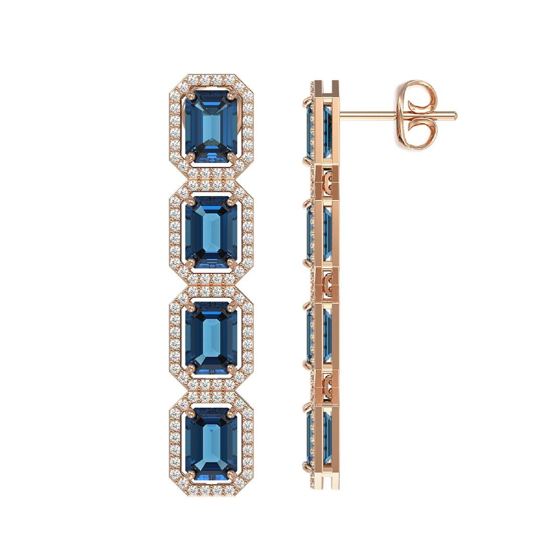12.02 CTW London Topaz & Diamond Halo Earrings 10K Rose - 2