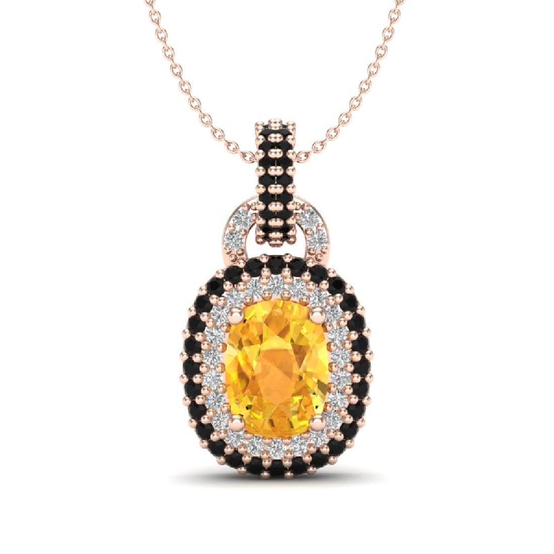 2.50 CTW Citrine With Black Micro VS/SI Diamond