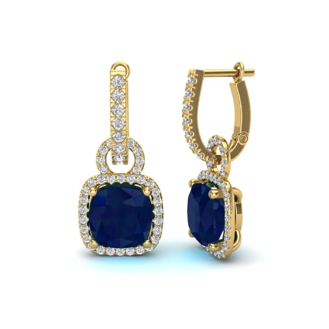 6 CTW Sapphire & Micro Pave VS/SI Diamond Earrings 18K - 2