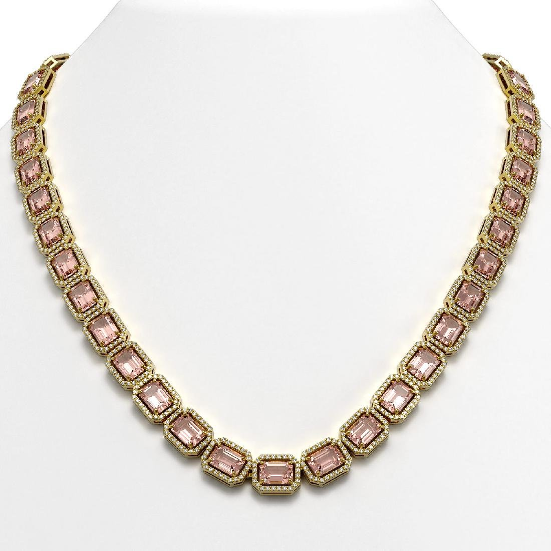 50.99 CTW Morganite & Diamond Halo Necklace 10K Yellow