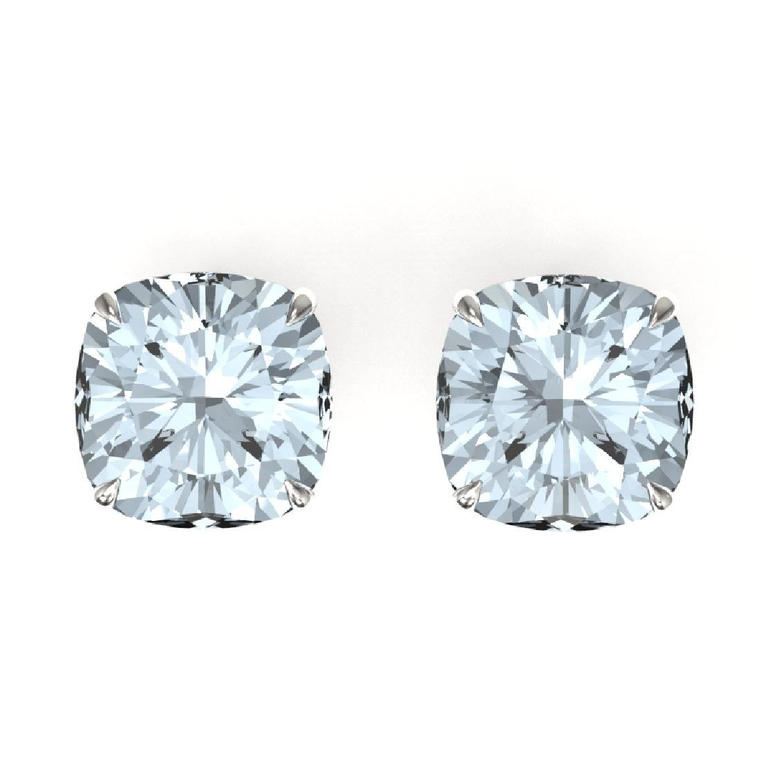 9 CTW Cushion Cut Aquamarine Inspired Solitaire Stud