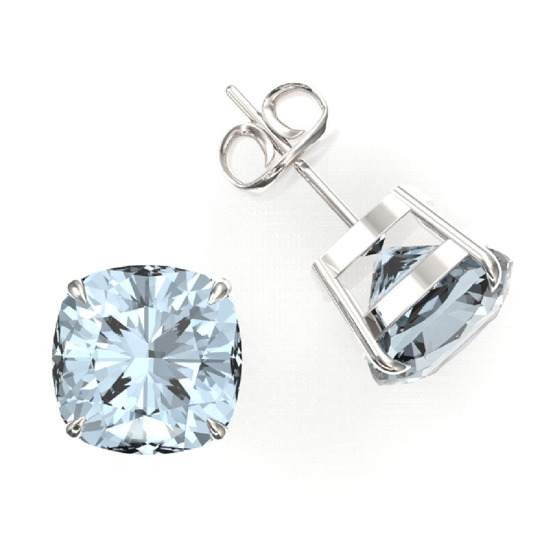 9 CTW Cushion Cut Aquamarine Inspired Solitaire Stud - 2