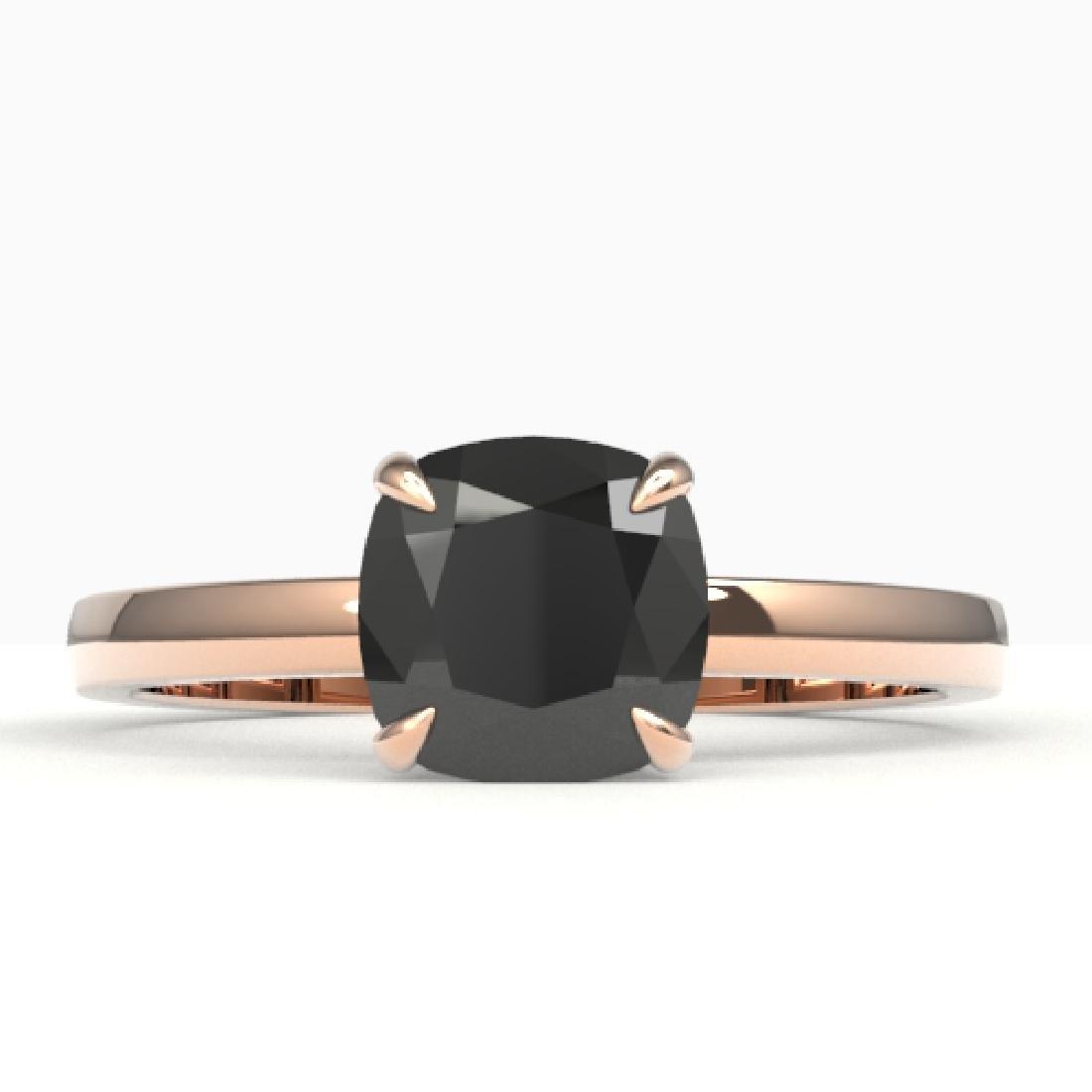3 CTW Cushion Cut Black VS/SI Diamond Solitaire