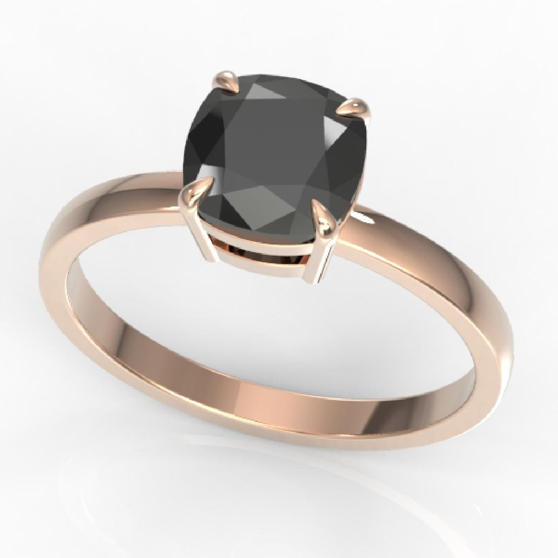 3 CTW Cushion Cut Black VS/SI Diamond Solitaire - 2
