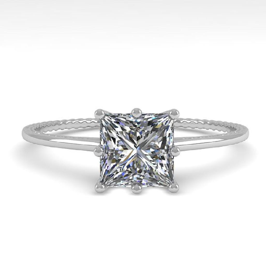 1.0 CTW VS/SI Princess Diamond Art Deco Ring 14K White