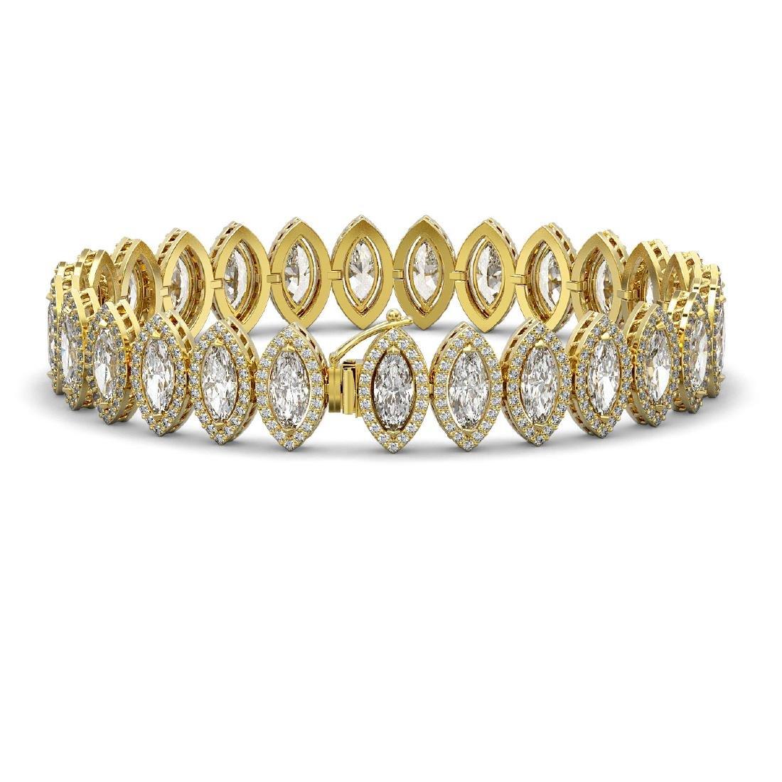 17.55 CTW Marquise Diamond Designer Bracelet 18K Yellow - 2