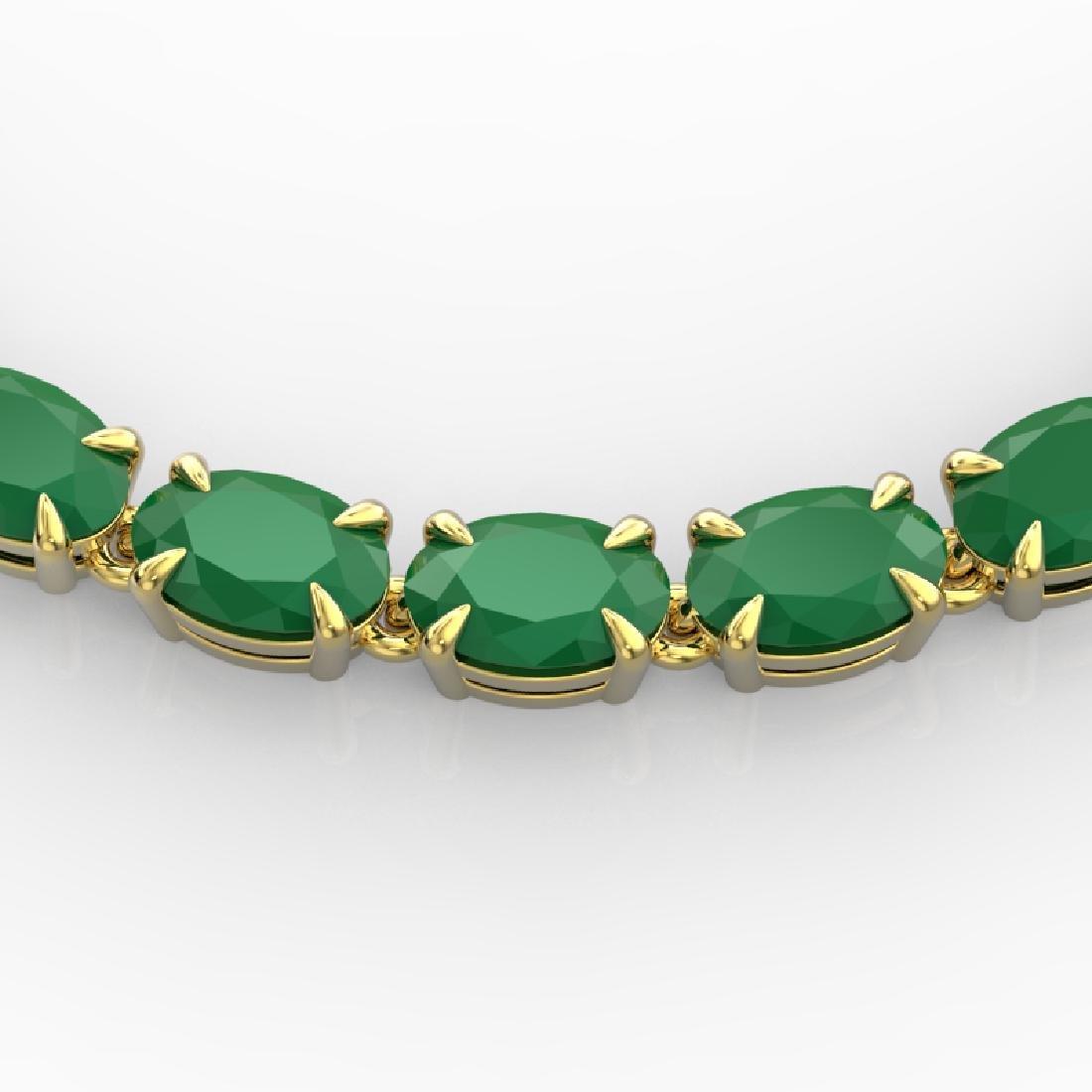 40 CTW Emerald Eternity Tennis Necklace 14K Yellow Gold