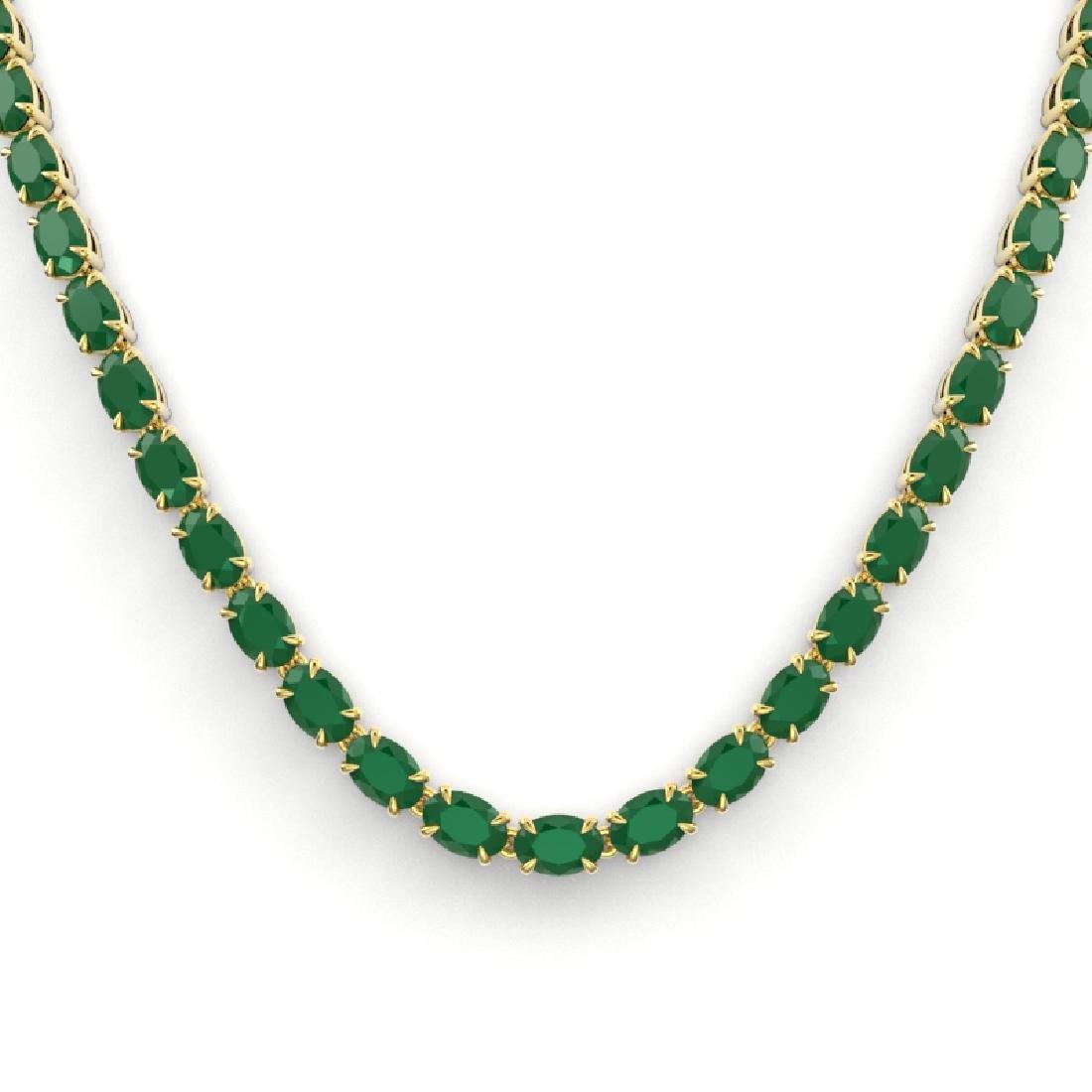 40 CTW Emerald Eternity Tennis Necklace 14K Yellow Gold - 2