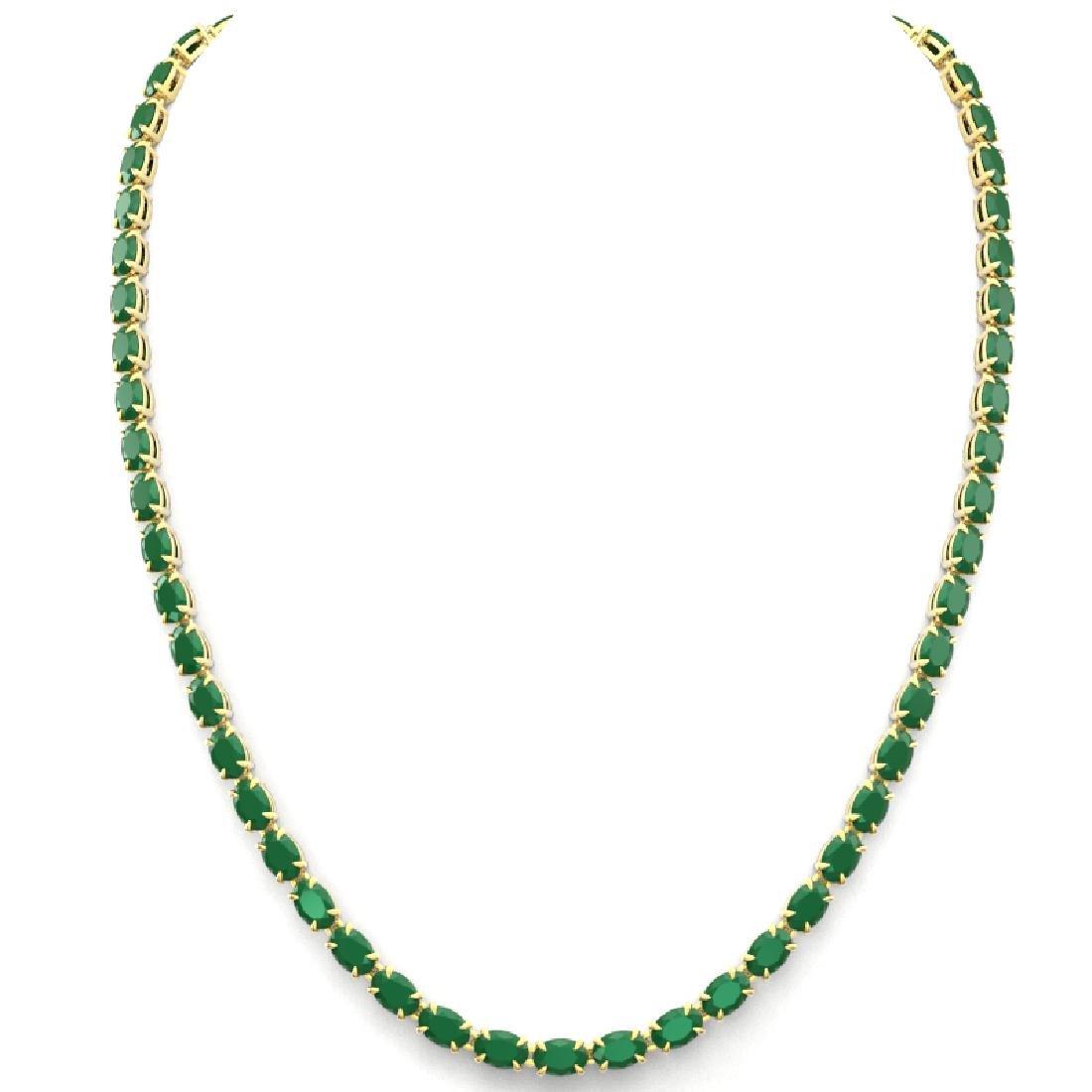 40 CTW Emerald Eternity Tennis Necklace 14K Yellow Gold - 3