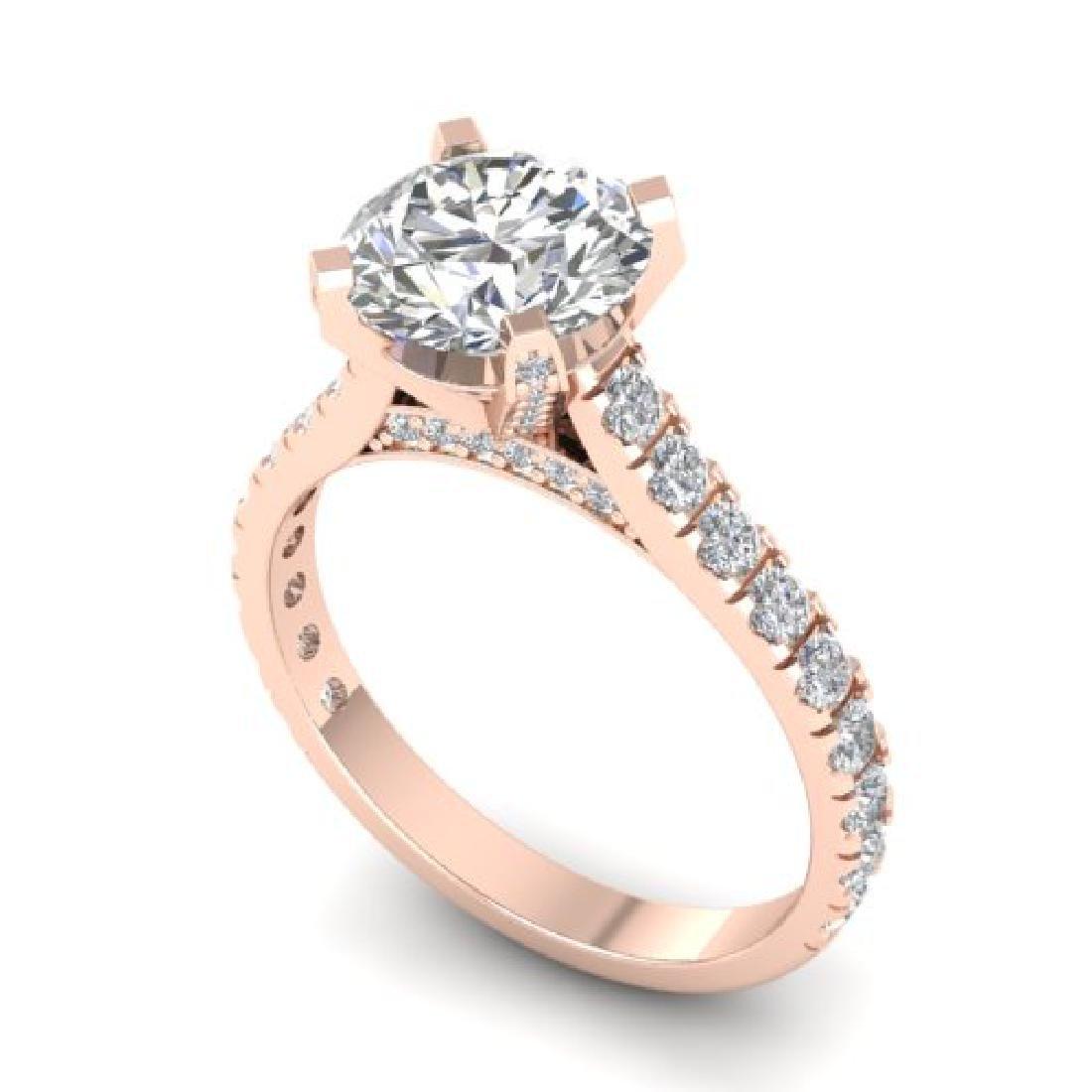 2.4 CTW Certified VS/SI Diamond Solitaire Art Deco Ring - 2