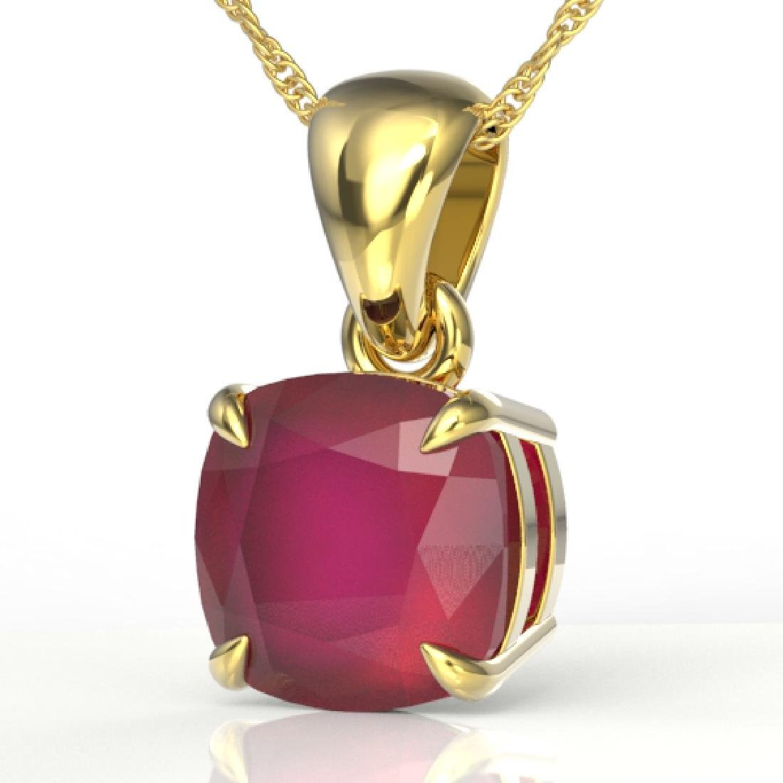 2 CTW Cushion Cut Ruby Designer Solitaire Necklace 18K