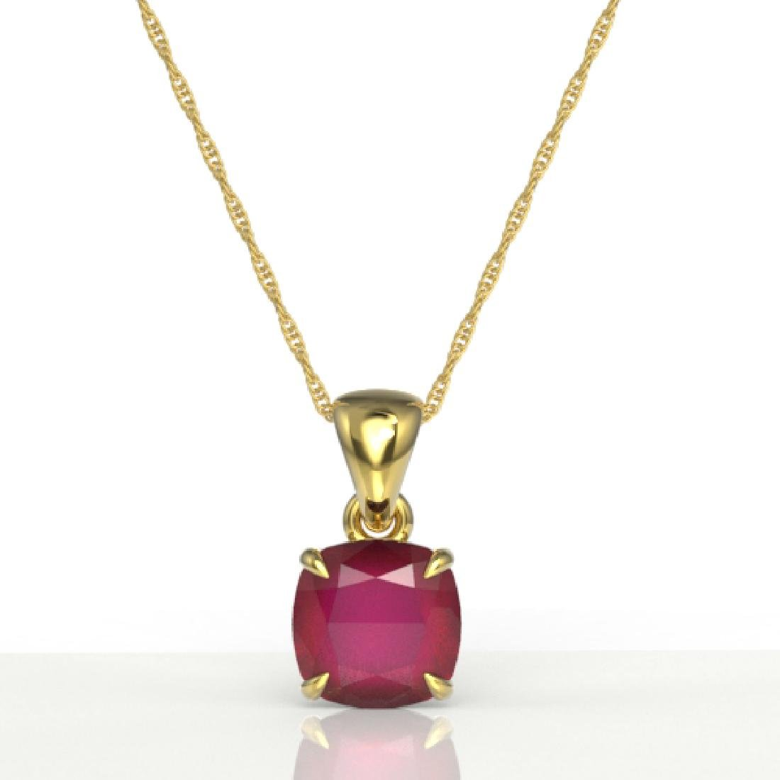 2 CTW Cushion Cut Ruby Designer Solitaire Necklace 18K - 2