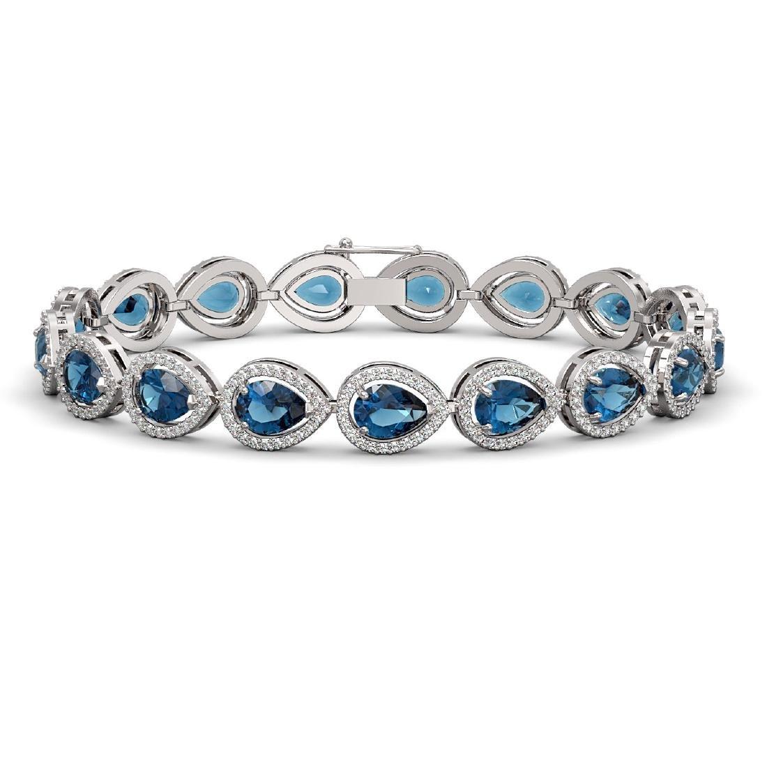16.59 CTW London Topaz & Diamond Halo Bracelet 10K