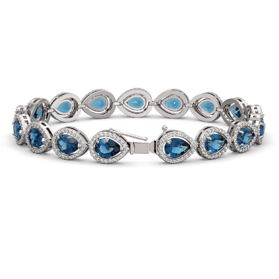 16.59 CTW London Topaz & Diamond Halo Bracelet 10K - 2