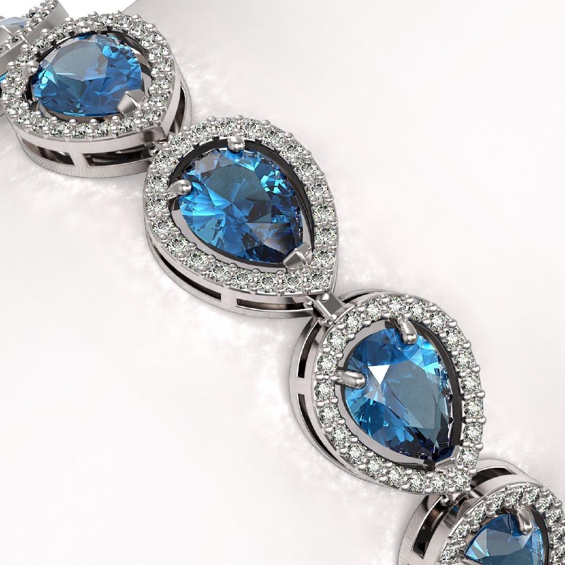 16.59 CTW London Topaz & Diamond Halo Bracelet 10K - 3