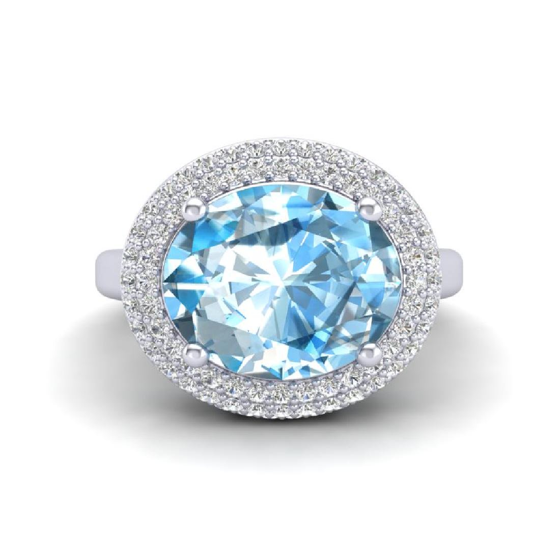 5 CTW Sky Blue Topaz & Micro Pave VS/SI Diamond Ring - 2