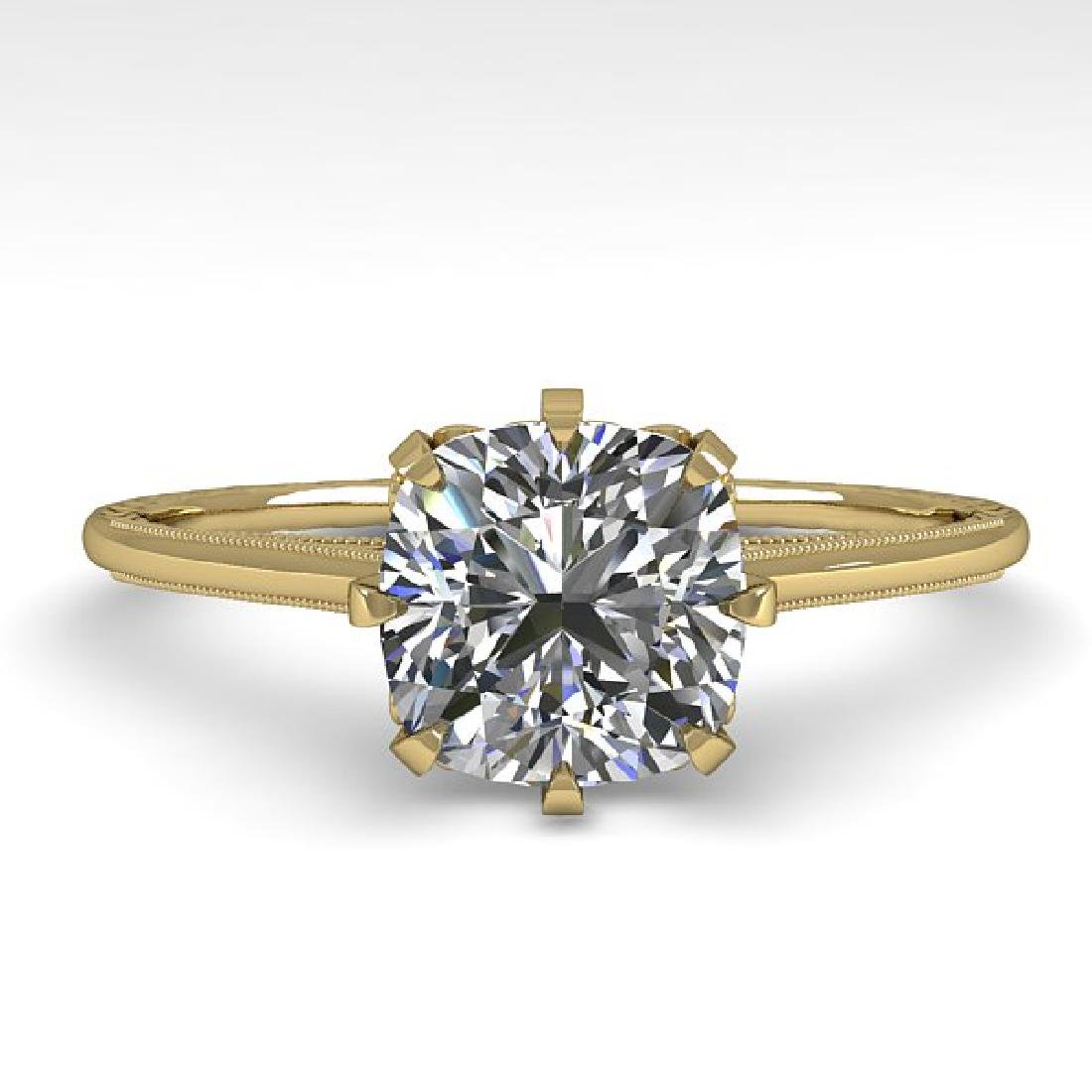 1.0 CTW Certified VS/SI Cushion Diamond Ring 14K Yellow
