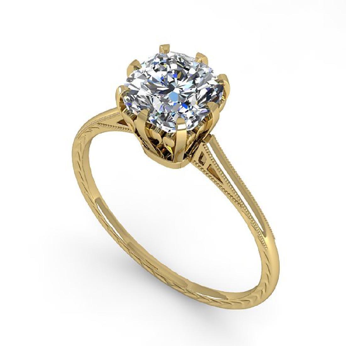 1.0 CTW Certified VS/SI Cushion Diamond Ring 14K Yellow - 2