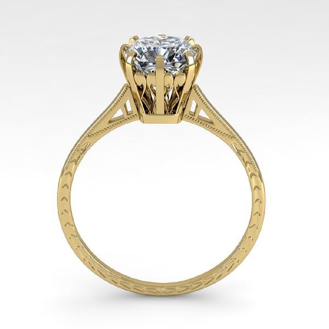 1.0 CTW Certified VS/SI Cushion Diamond Ring 14K Yellow - 3