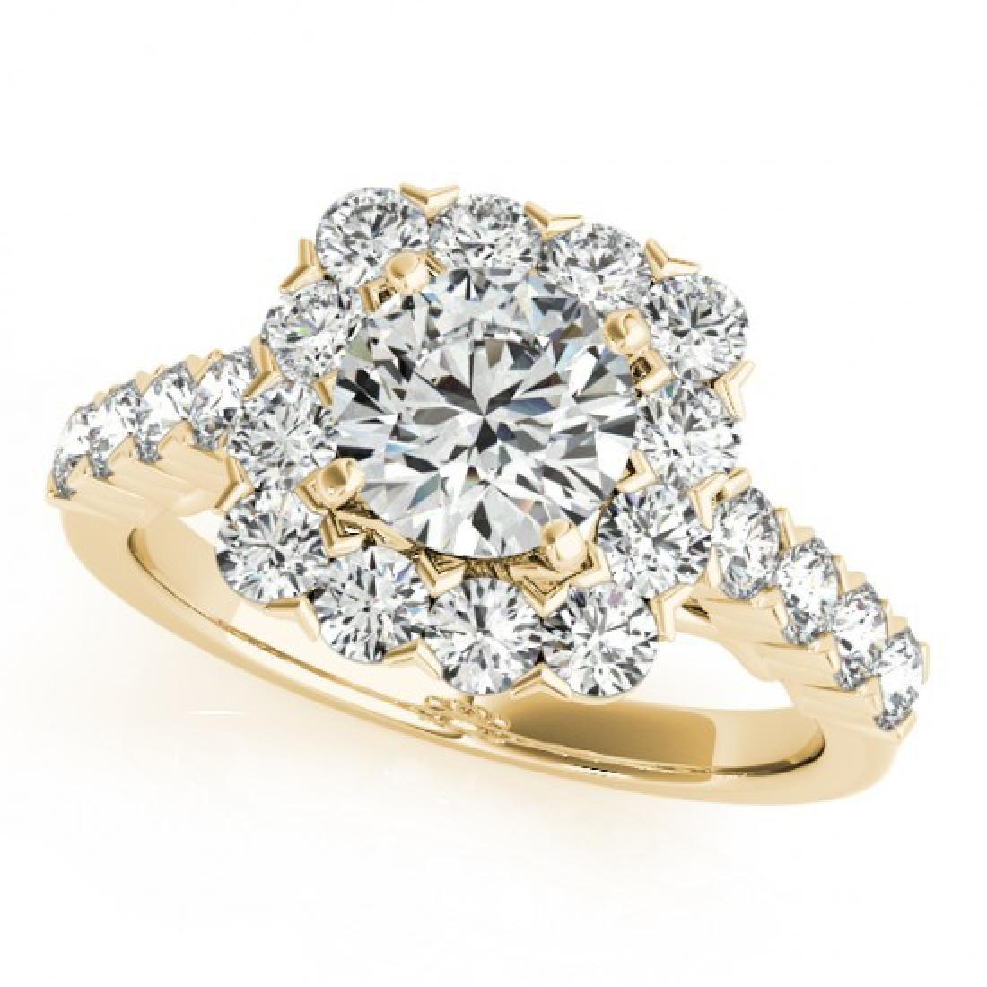 2.22 CTW Certified VS/SI Diamond Solitaire Halo Ring