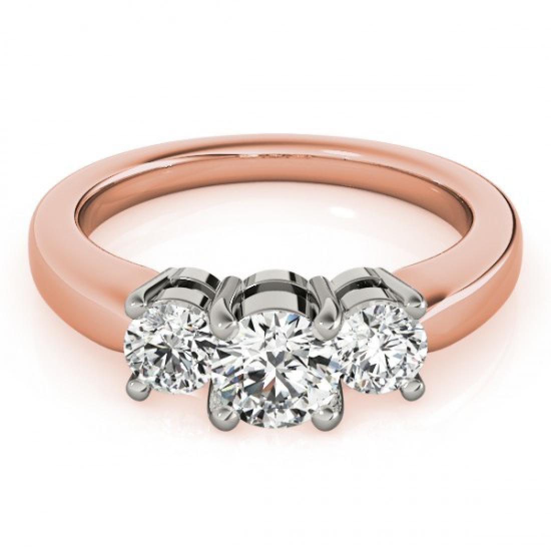 1.33 CTW Certified VS/SI Diamond 3 Stone Ring 14K Rose