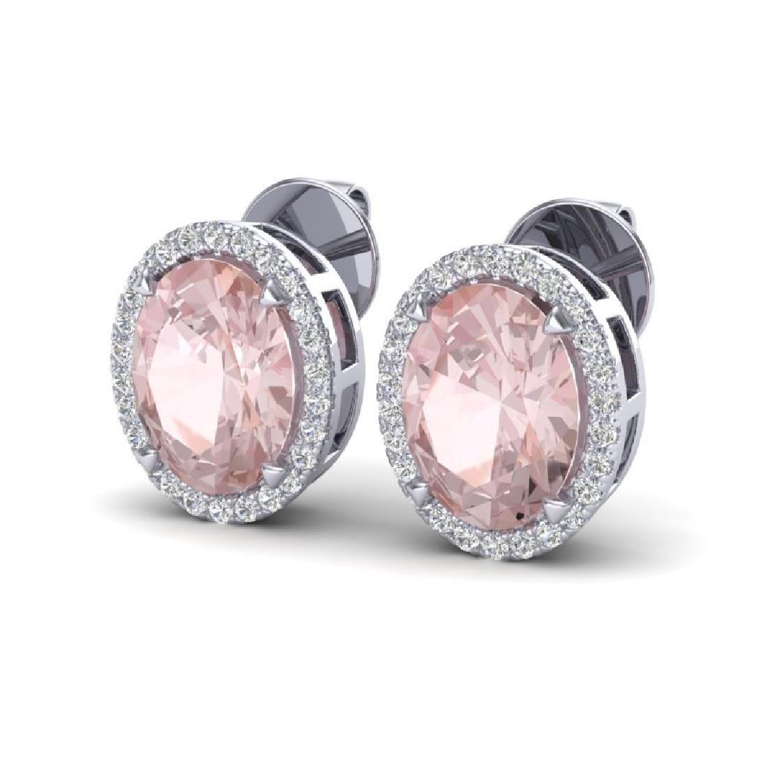5.50 CTW Morganite & Micro VS/SI Diamond Halo Earrings
