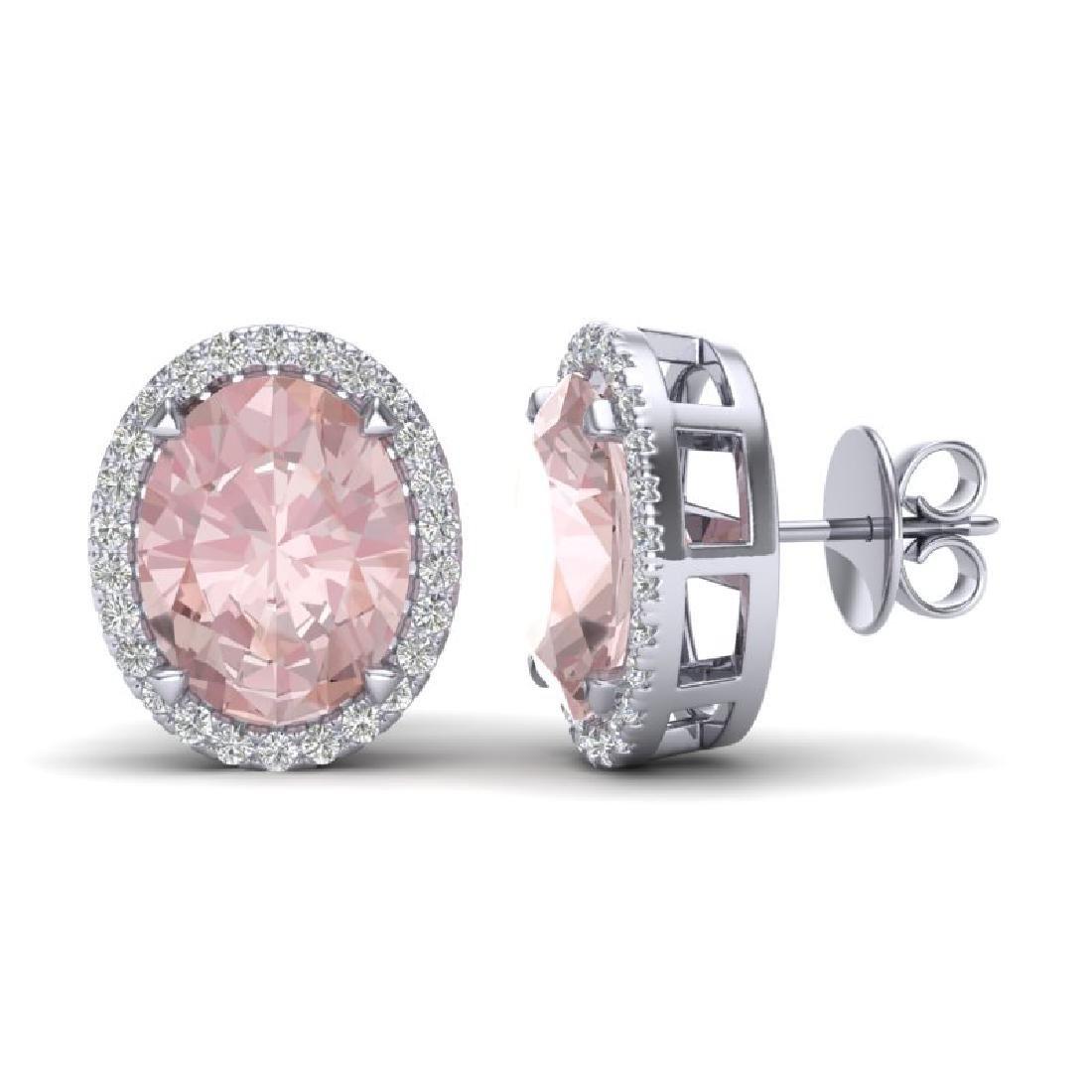 5.50 CTW Morganite & Micro VS/SI Diamond Halo Earrings - 2