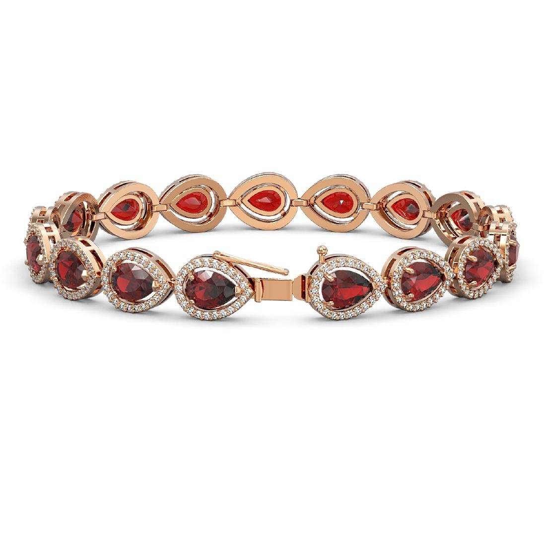 17.44 CTW Garnet & Diamond Halo Bracelet 10K Rose Gold - 2