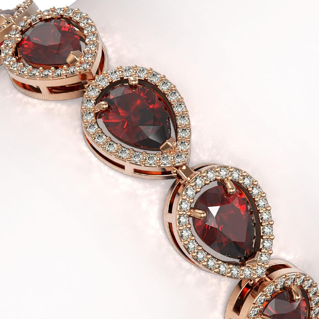 17.44 CTW Garnet & Diamond Halo Bracelet 10K Rose Gold - 3