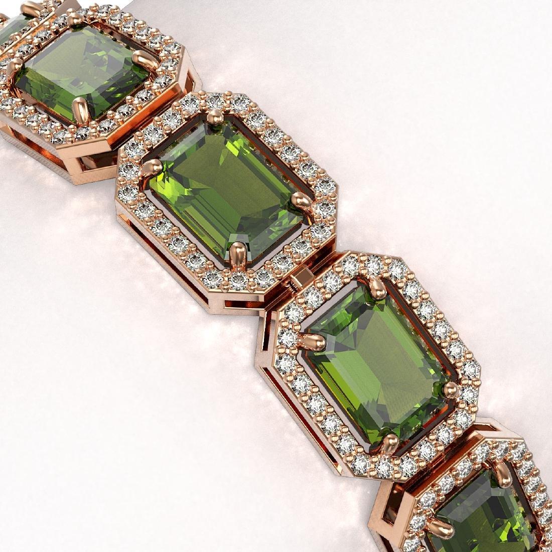 26.38 CTW Tourmaline & Diamond Halo Bracelet 10K Rose - 3