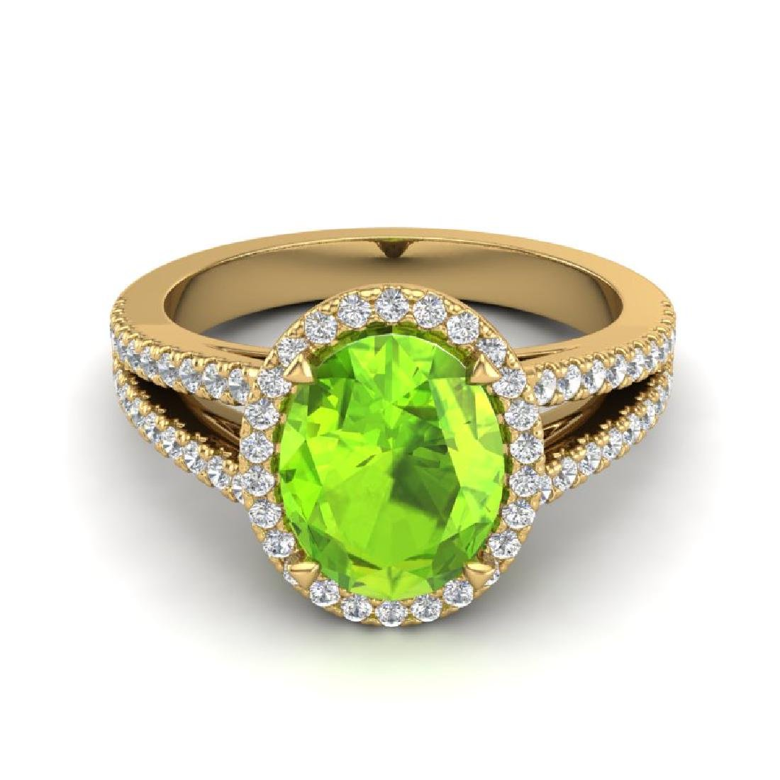 3 CTW Peridot & Micro VS/SI Diamond Halo Solitaire Ring