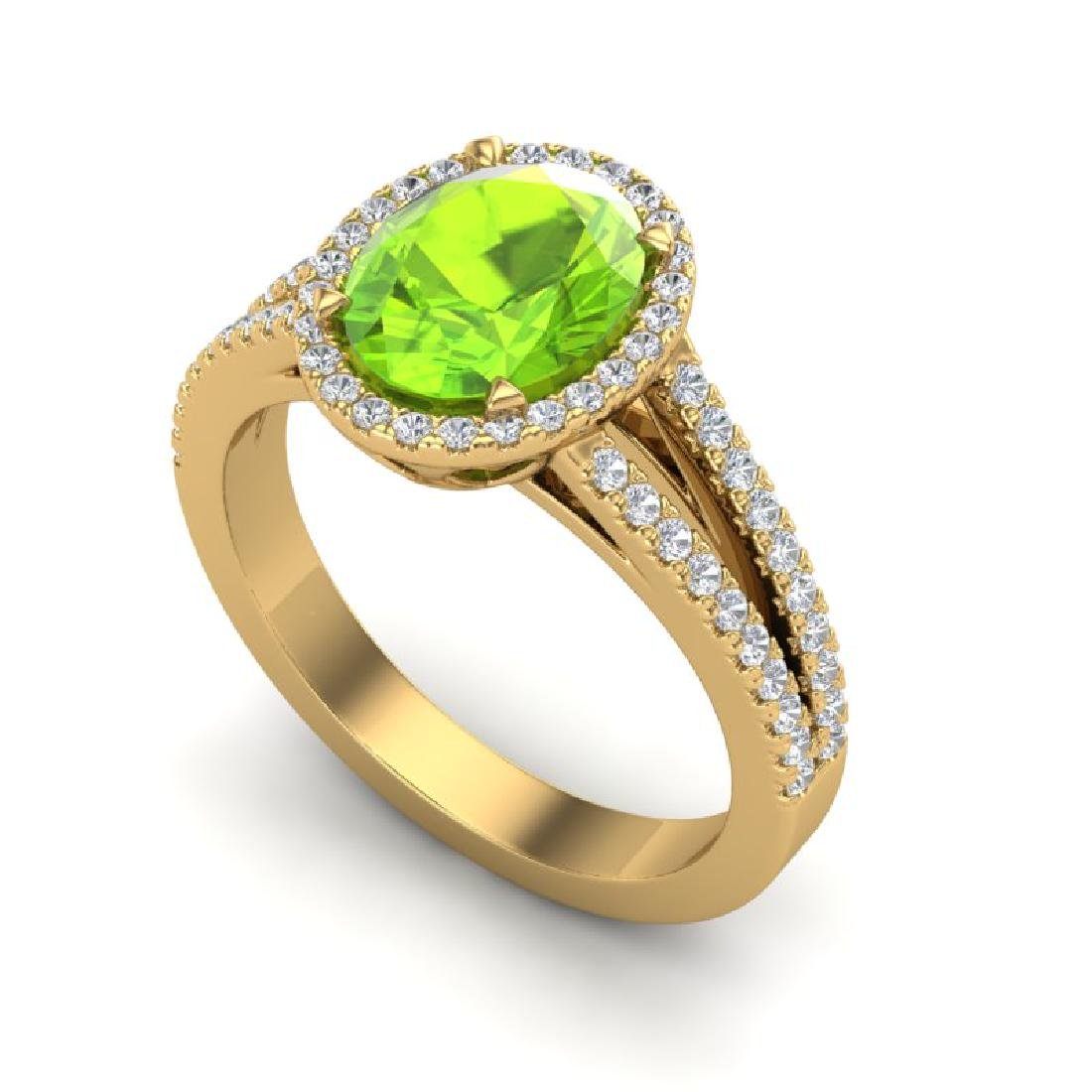 3 CTW Peridot & Micro VS/SI Diamond Halo Solitaire Ring - 2