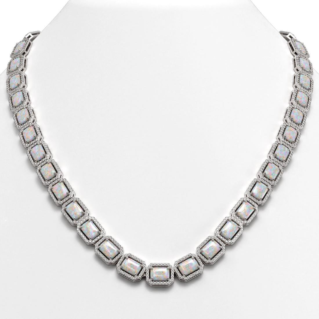 37.69 CTW Opal & Diamond Halo Necklace 10K White Gold