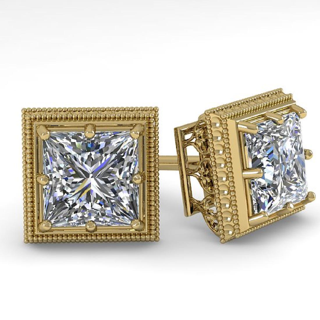 1.0 CTW VS/SI Princess Diamond Stud Solitaire Earrings