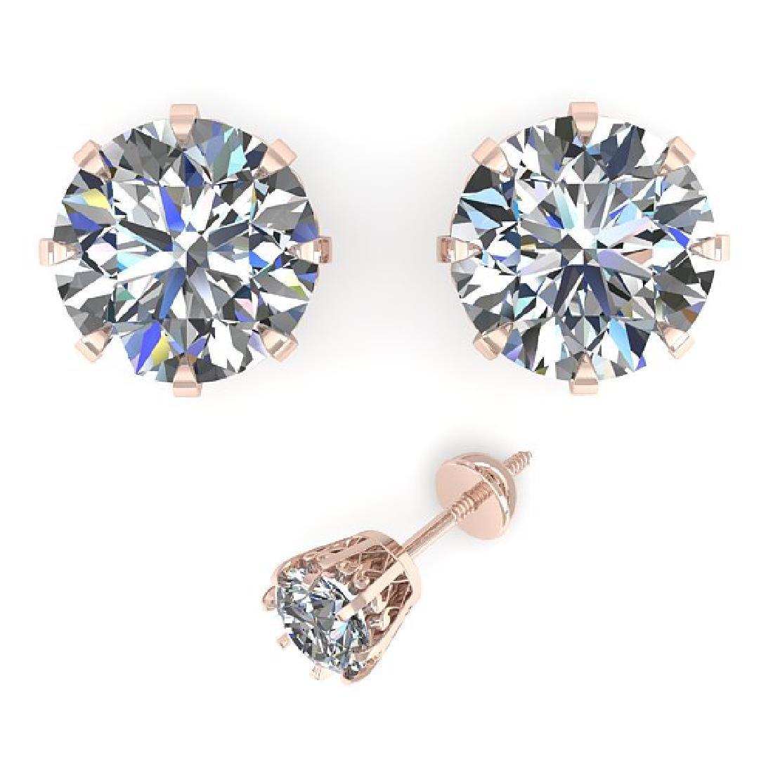 2.03 CTW VS/SI Diamond Stud Solitaire Earrings 14K Rose - 2