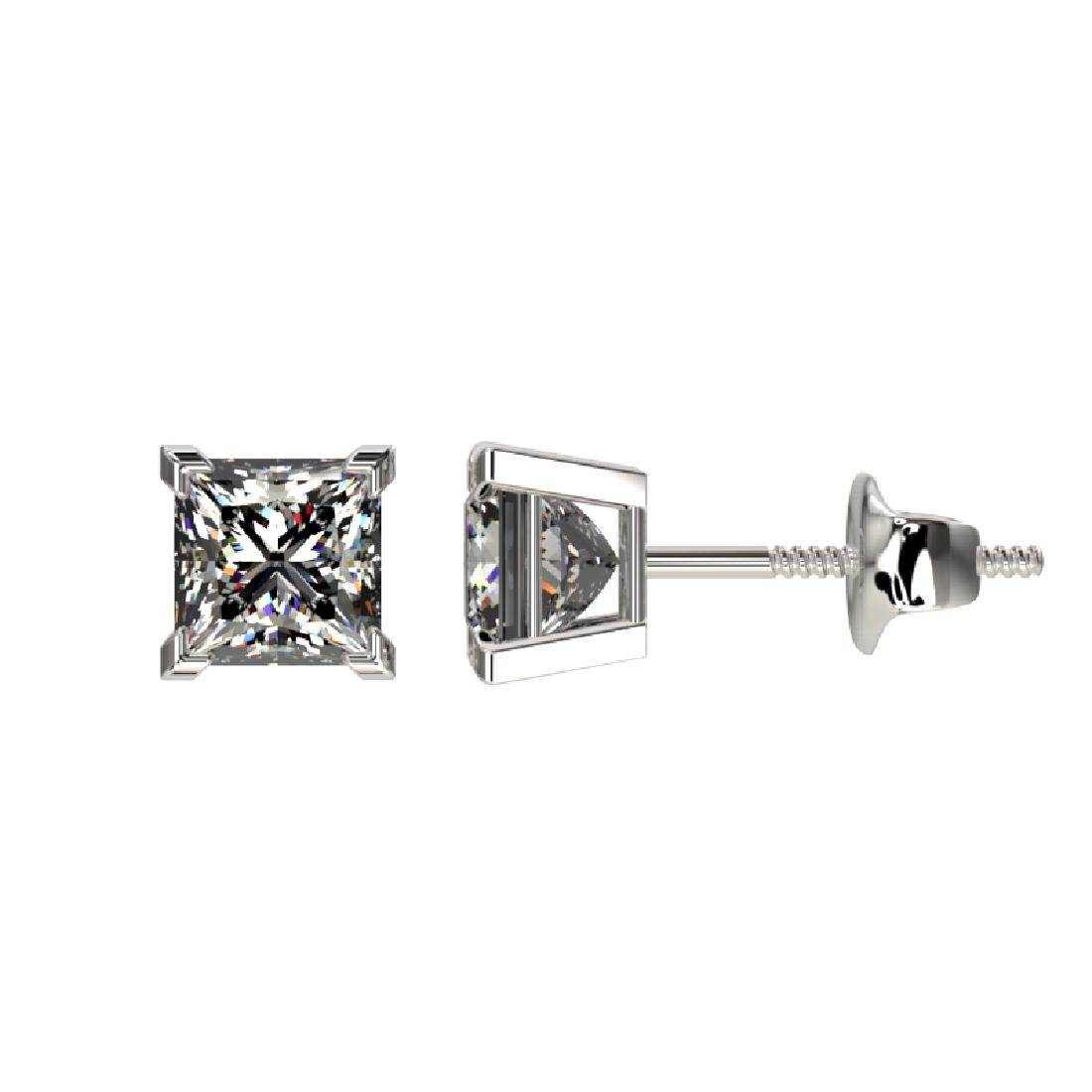 1 CTW Certified VS/SI Quality Princess Diamond Stud - 2