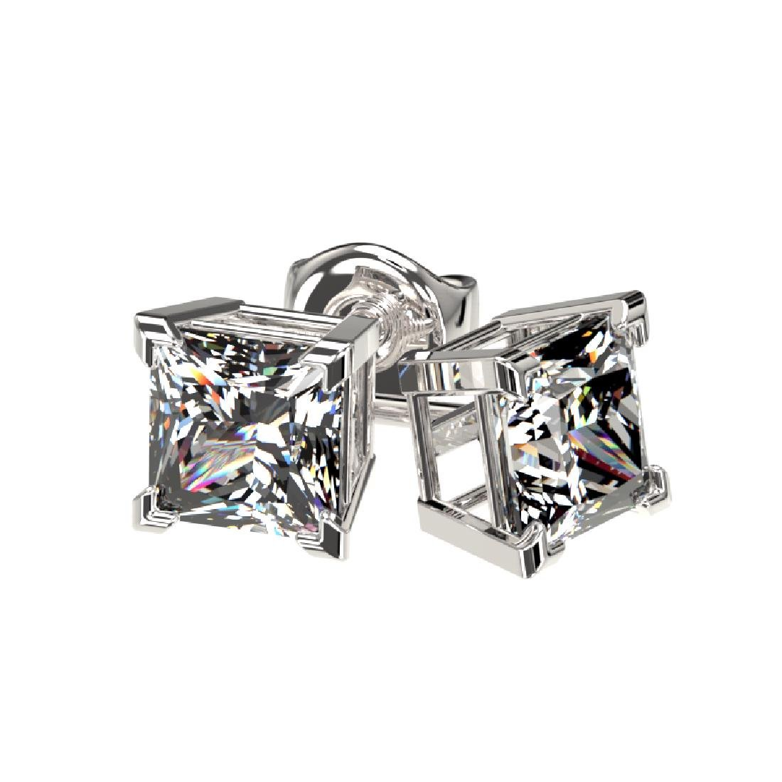 1 CTW Certified VS/SI Quality Princess Diamond Stud - 3