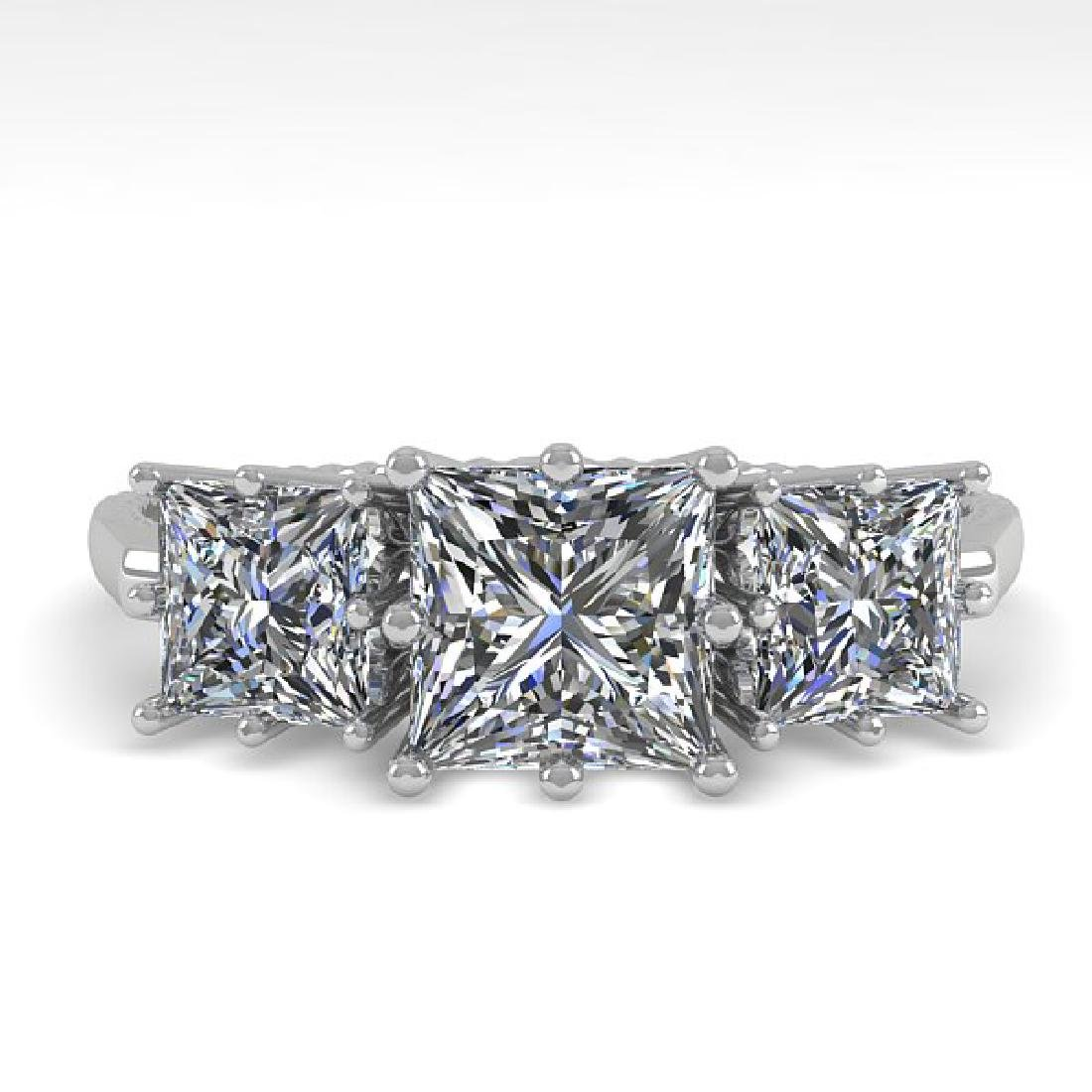 2.0 CTW VS/SI Princess Diamond Art Deco Ring 14K White