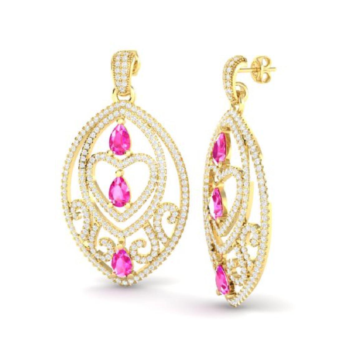 7 CTW Sapphire Pink & Micro Pave VS/SI Diamond Heart - 2